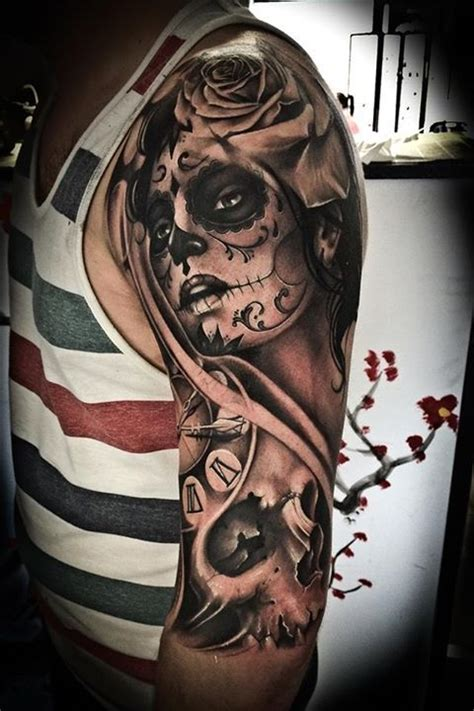 day of the dead tattoos sleeves 101 day of the dead tattoos that are haunting and brilliant