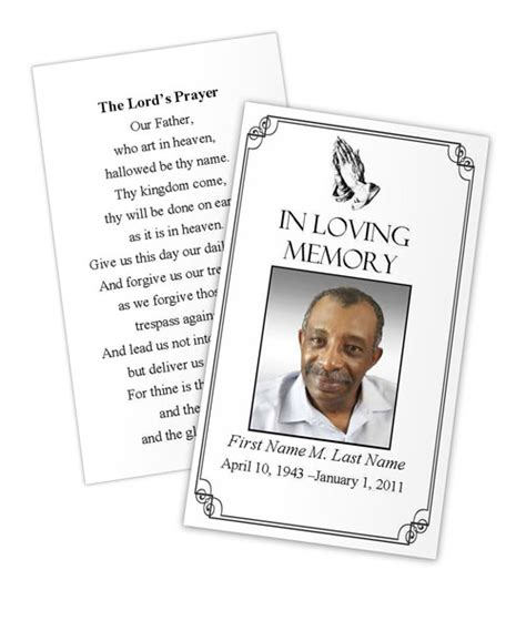 memorial prayer card template free praying prayer card template funeral card