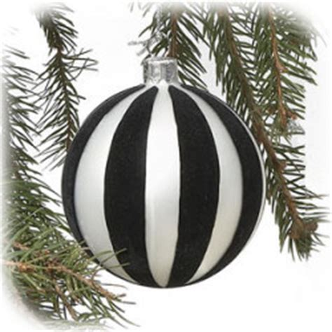 4 quot black and white stripe glass ball ornament