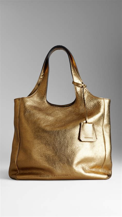 Burberry Metallic Mesh Leather Shopper by Burberry Medium Metallic Leather Shopper In Metallic Lyst