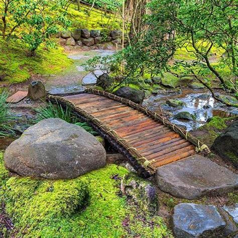 zen water garden bamboo footbridge at portland japanese garden pinteres