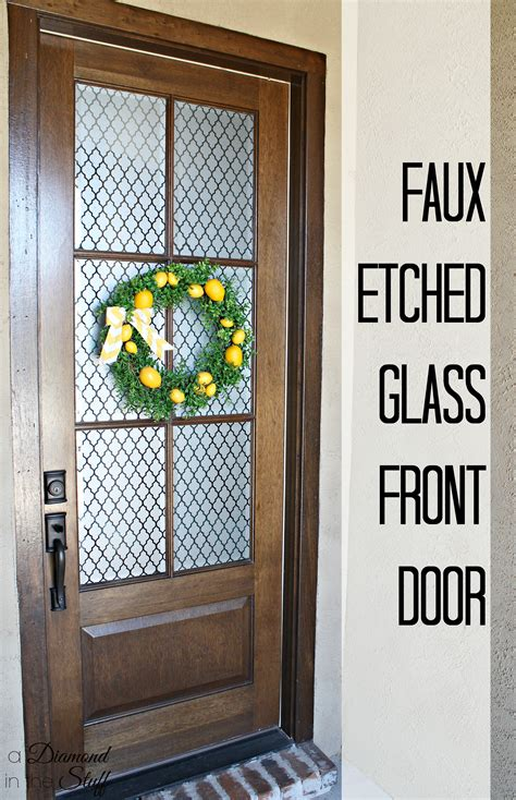 How To Cover A Glass Front Door Faux Etched Glass Front Door