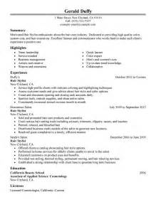 hair stylist resume exles salon spa fitness resume