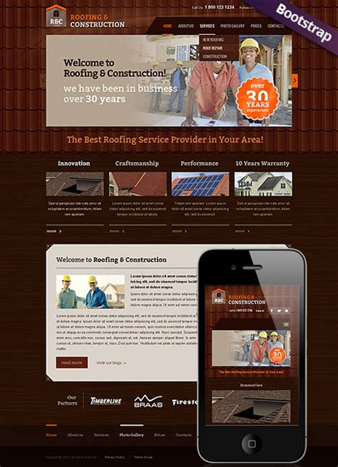 renovation websites roofing and construction html website template best
