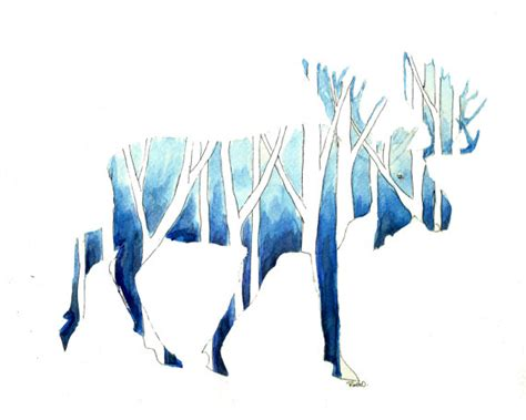 woodland silhouette l shade moose silhouette print watercolor shades of blue