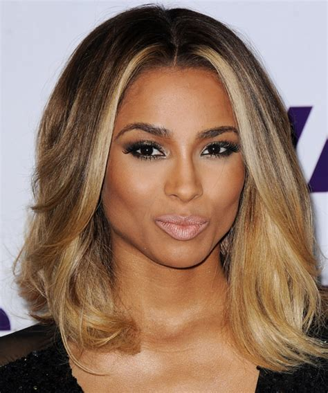 middle part shoulder length hairstyles for black women ciara medium straight formal hairstyle medium brunette