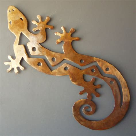 southwest wall decor metal gecko lizard rusted wall southwest large 35