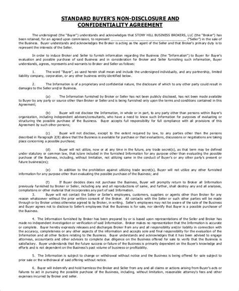 8 Sle Standard Confidentiality Agreements Sle Templates Standard Nda Template Free