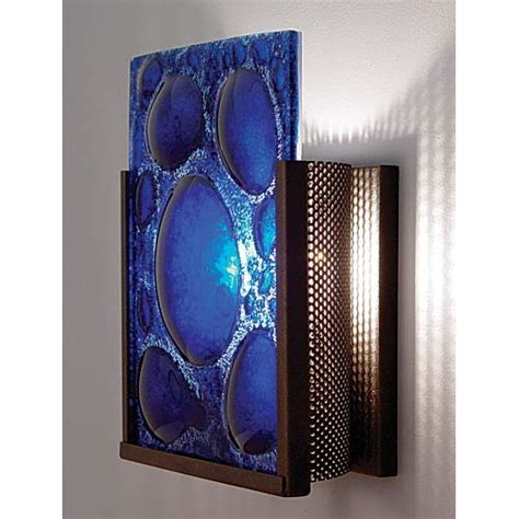 Blue Wall Sconce f n one bronze half moon blue one light wall sconce wpt