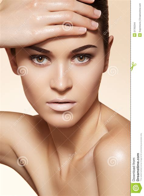 The Model Eyebrow 4 by Beautiful Model With Clean Skin Eyebrows Make Up Stock