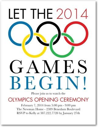 olympic occasion party invitation postcards in white