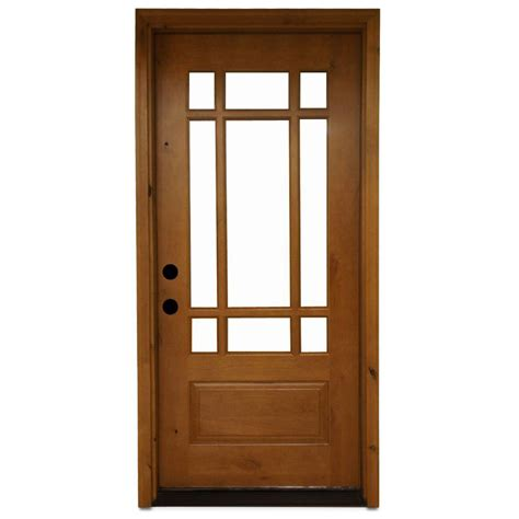 Wood Entry Doors With Glass Steves Sons 36 In X 80 In Craftsman 9 Lite Stained Knotty Alder Wood Prehung Front Door