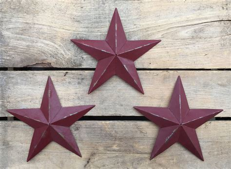 3 pc rustic metal barn star set wall art home decor new set of 3 metal barn stars 5