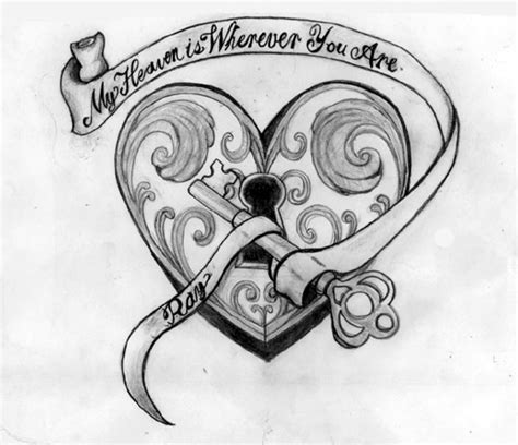 heart and lock tattoo images designs