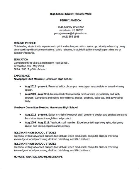 8 Sle Resumes In Word Sle Templates School Resume Template Word