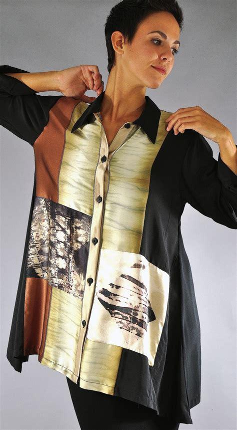 Blouse Shibori 8 Silk Charmeuse Pieced Shibori Fabrics Small Orchid Blouse