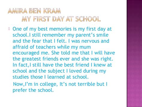 My Day Of School Essay by Fatouma Bourguiba Prep School