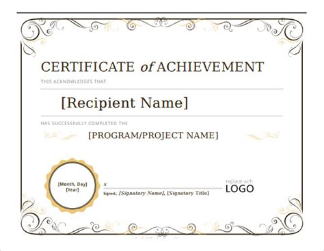 certificate of achievement word template 26 microsoft certificate templates free