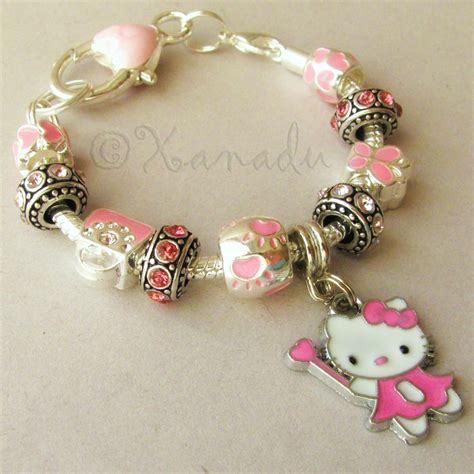 Pink Hello Kitty Fairy Princess European Charm Bracelet With Pink Crystal Beads   eBay