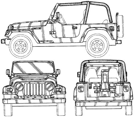 jeep drawing jeep car blueprints die autozeichnungen les plans d