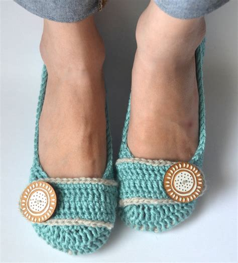 crochet house slippers crochet womens slippers ballet flats house shoes robin s egg li