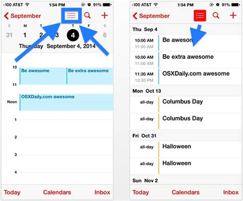 Calendar List View Access The Calendar List View For Specific Dates On Iphone