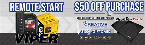 Weathertech Gift Card - buy a remote start get a free 100 weathertech gift card creative audio