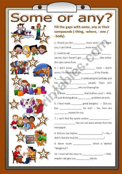 english worksheets some or any