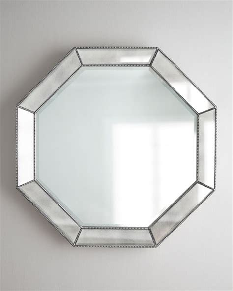 octagon bathroom mirror octagonal beaded trim mirror
