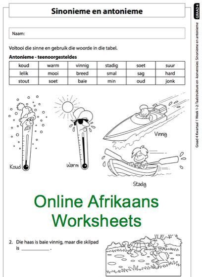 grade 4 afrikaans worksheets antonieme en sinonieme