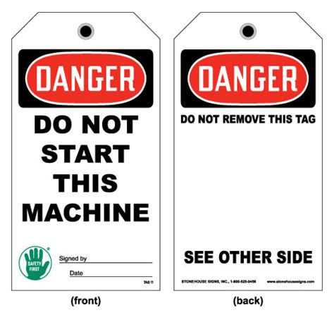 Lockout And Equipment Tag Front Danger Do Not Start This Machine Card Stock Stonehouse Signs Lock Out Tags Template
