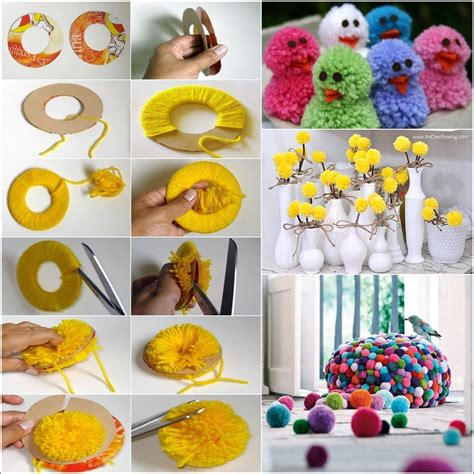 Handmade Crafts To Make At Home - learn how to make pom poms and craft decorative items from