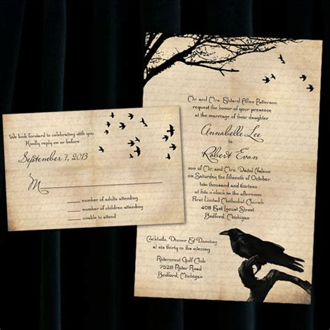 printable halloween wedding invitations custom raven halloween wedding invitations