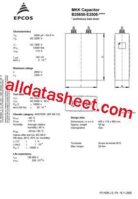 datasheet capacitor epcos b25650 e2508 datasheet pdf epcos