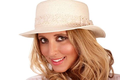 womens straw summer boater hat lace crochet bow detail