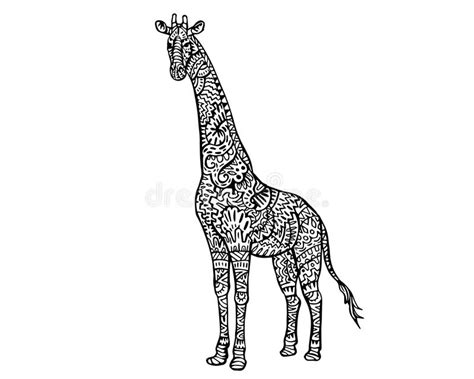 colouring book for adults south africa ethnic animal doodle detail pattern giraffe zentangle