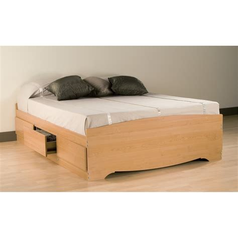 Platform Bed With Storage Drawers Prepac Maple Mate S Platform Storage Bed With 6 Drawers