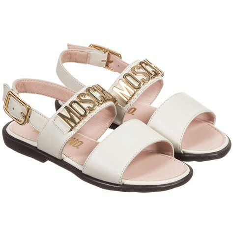 ivory childrens sandals moschino kid ivory leather gold logo