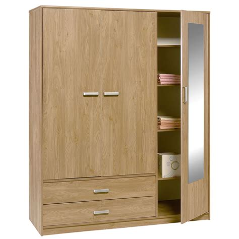 Three Door Wardrobe Felix 3 Door 2 Drawer Wardrobe Brighton Oak