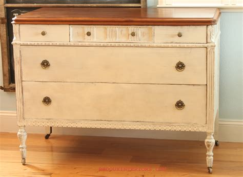 white dresser with stained wood top two tone buffet refinished hardwood top