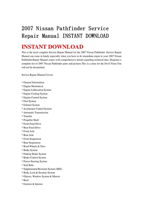 service manual 2007 nissan pathfinder free manual download downloads by tradebit com de es it 2007 nissan pathfinder service repair manual instant download by ksefmme issuu