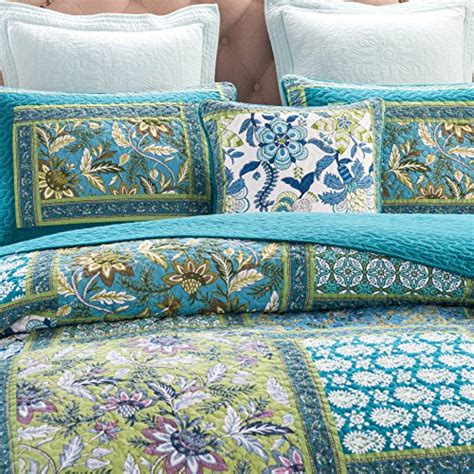 green quilted coverlet dada bedding mediterranean fountain bohemian reversible