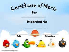 Merit Award Certificate Template by Angry Birds Award Certificates