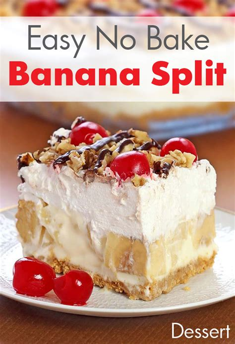 lazy easy no bake banana split dessert recipe