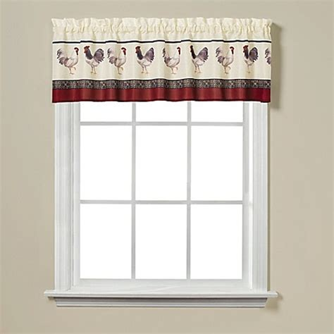 Rooster Print 13 Quot Window Valance Bed Bath Beyond Rooster Kitchen Curtains Valances