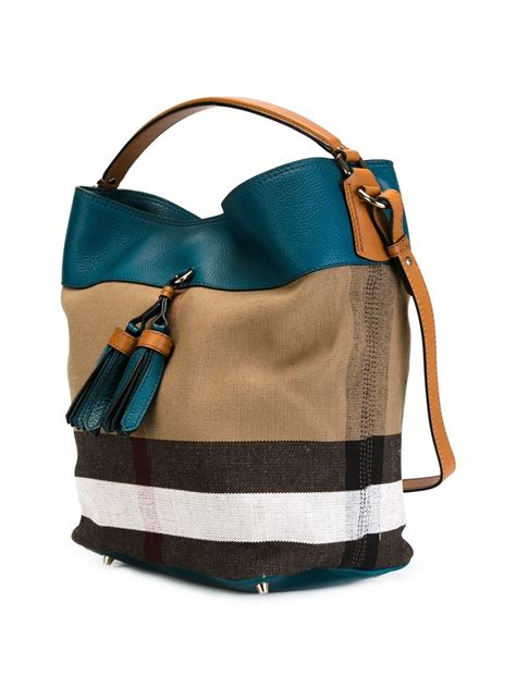 Burberry Canvas Floral Tote by Burberry Medium Check Canvas Tote In Blue Lyst