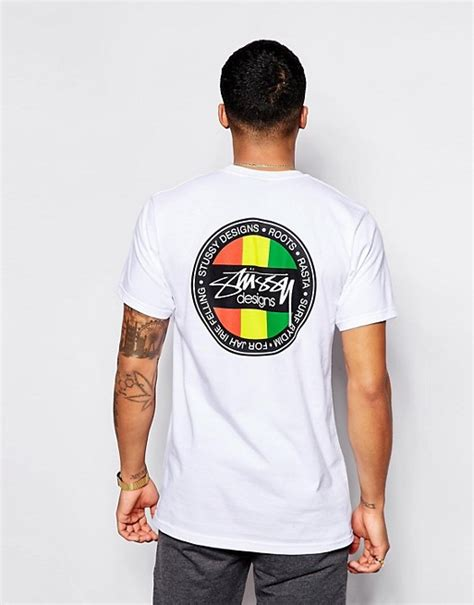 Tshirt Stussy 9 stussy stussy t shirt with rasta back print