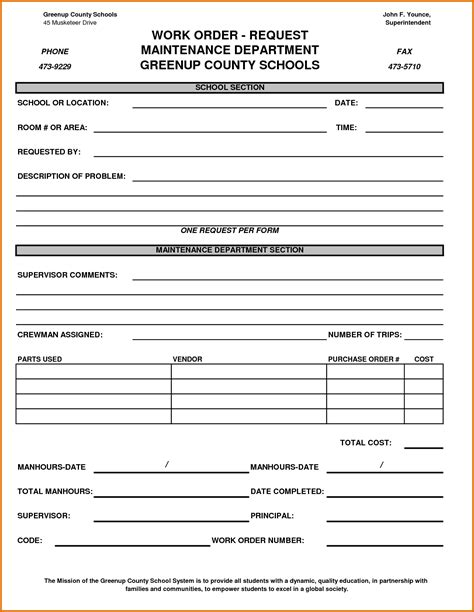 free printable work order template work order forms bookbinder co