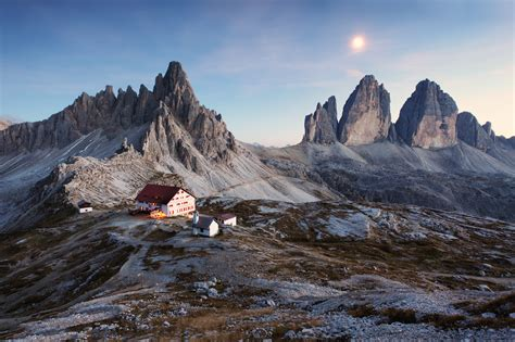 italy dolomite alps three peaks house mountains snowy land
