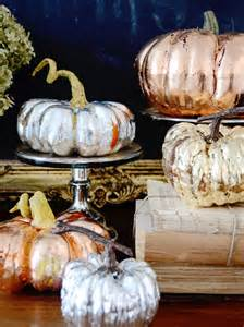 make metallic copper gold and silver pumpkins for a chic
